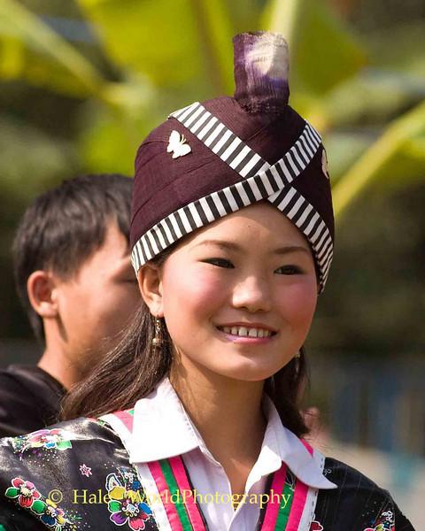 Hmong Woman Playing Pov Pob at New Year Festival, Luang Prabang, Laos