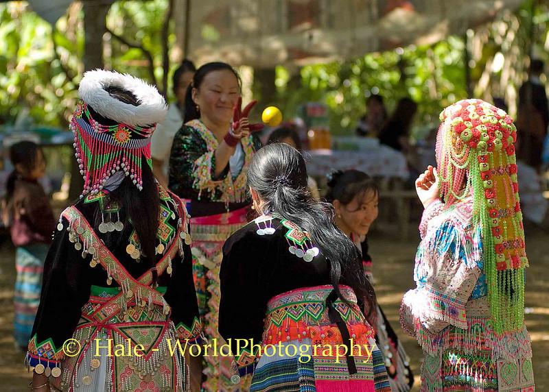 Hmong Women Playing Pov Pob, Luang Prabang