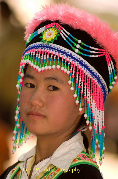 Adolescent Girl Dressed for Hmong New Year Festival, Luang Prabang, Laos