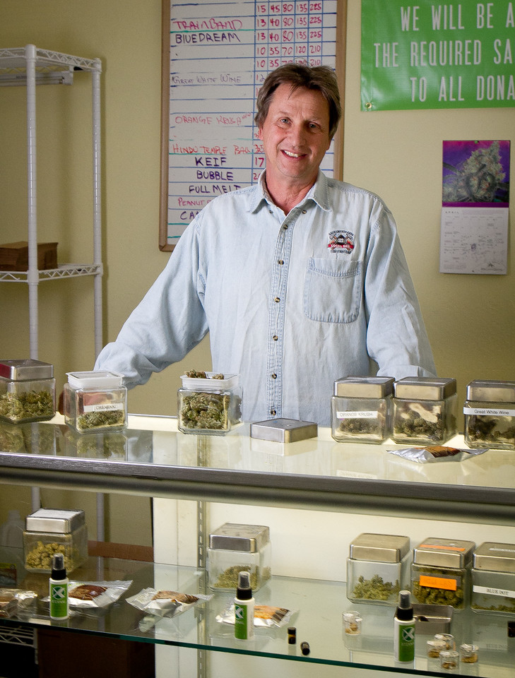 Lawrence Pebbles in his medical marijuana dispensary in Novato, Calif. on April 26th, 2012.