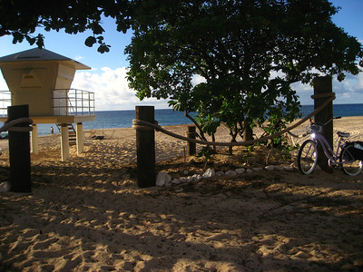 Rockpile Lifeguard Tower and my lavender bike