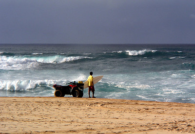 Lifeguard watching for surfers needing help on a stormy day, January 20, 2004
