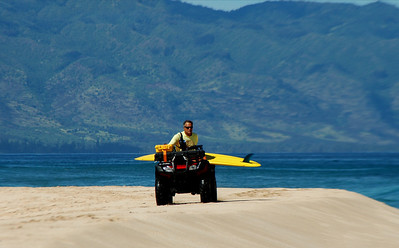 Lifeguard on ATV, Ehukai Beach, North Shore, September 2004