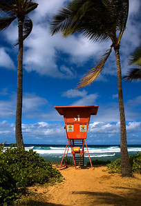 Ali'i Beach Lifeguard Tower in Hale'iwa North Shore of O'ahu, Hawai'i