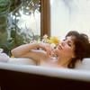 Woman taking a relaxing bath