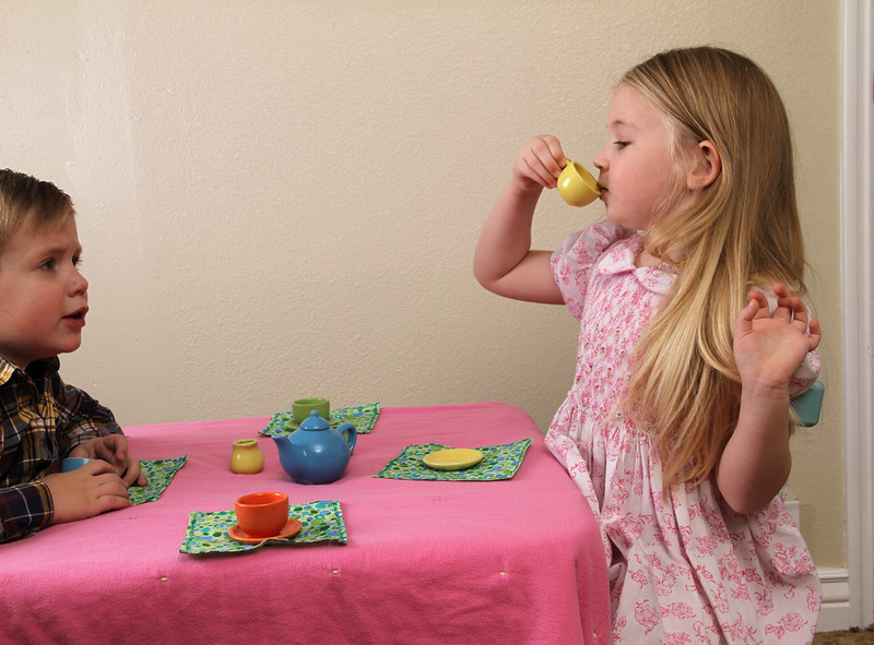 Childhood play with tea service