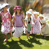 Cousins Dress Up for Outdoor Tea Party