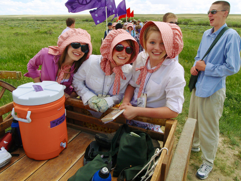 Friendship on a Pioneer handcart trek reenactment