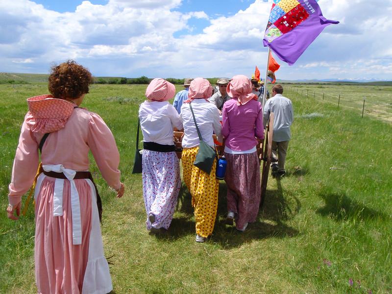 Pioneer handcart trek reenactment
