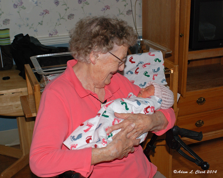 Great Grandmother Barbara holds her 16th and newest great grandchild