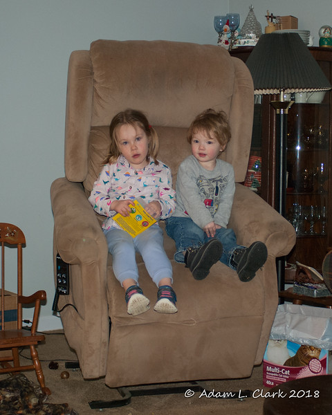2018.01.11<br> Liliana and Liam sitting in Mimi's motorized chair in the upright position
