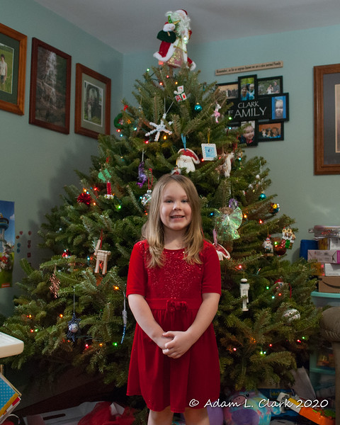 2020.01.05<br> Liliana standing in front of the Christmas tree just before taking it down