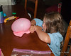 2020.08.09<br> After sticking a straw into a glob of slime, Liliana blew a bubble with it