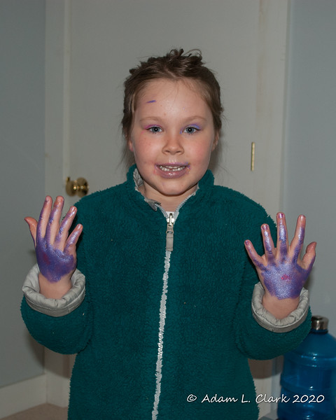 """2020.02.01<br> Liliana did her own makeup today and added """"a bit"""" of body glitter to her hands"""