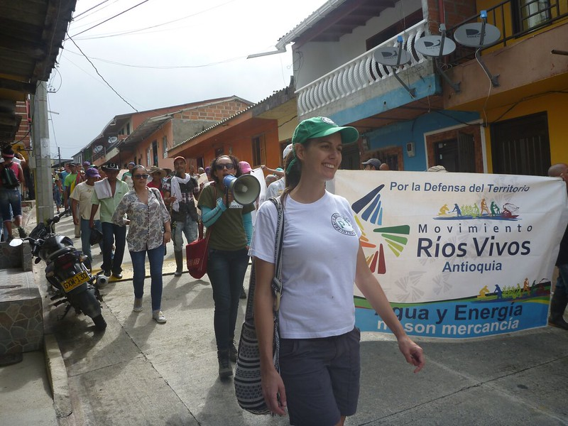 Sarah Cates, volunteer field worker from New Zealand, accompanying the march.