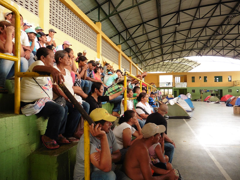 The protesters in a meeting in the sports centre where they camped out.