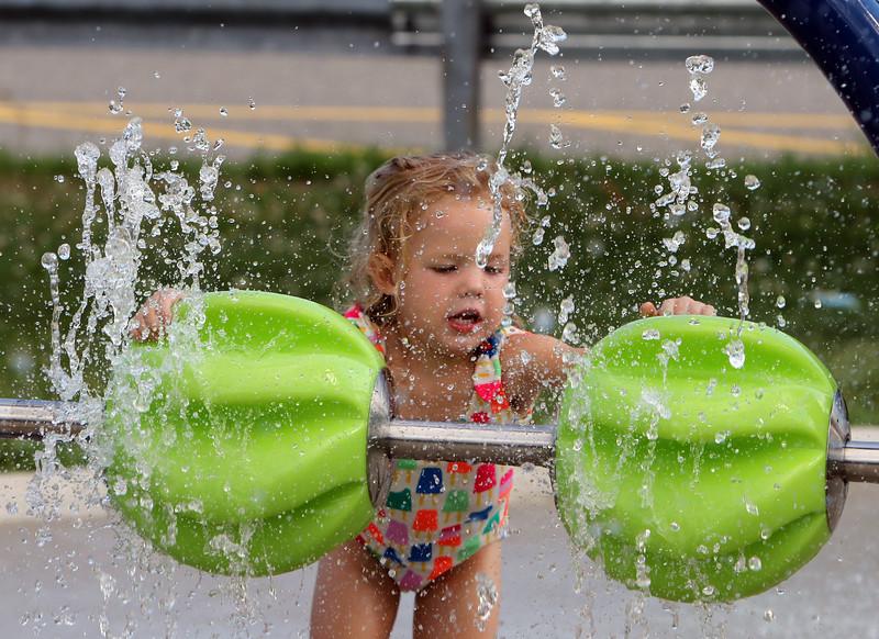 Features at Livingston Street Recreation Center in Tewksbury. Riley Lukasiak, 3, of Tewksbury, plays at the spray park. (SUN/Julia Malakie)