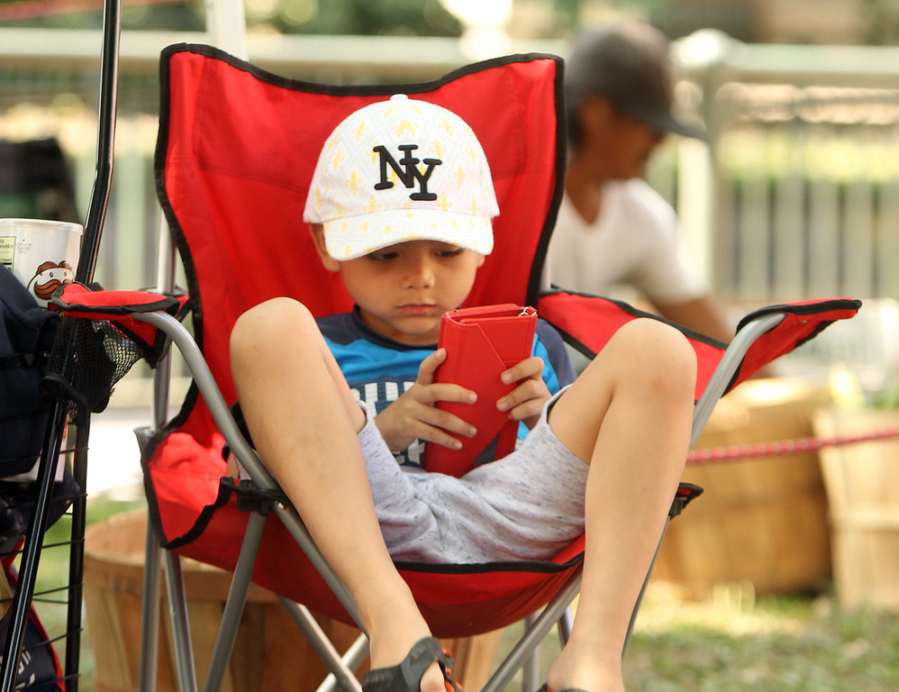 . Features at Friday afternoon Lowell Farmers Market. Aizen Yim, 7, of Lowell, hangs out while his grandmother was busy. (SUN/Julia Malakie)