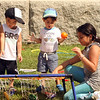 Features at Friday afternoon Lowell Farmers Market. From left, Maddox Chak, 2, Adam Al Maliki, 2, and his sister Mina Al Maliki, 9, all of Lowell, play with a bean bag toss game. (SUN/Julia Malakie)