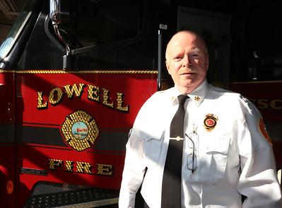 Lowell Fire Chief Jeff Winward, at Fire Department HQ. He will be retiring soon.  (SUN/Julia Malakie)