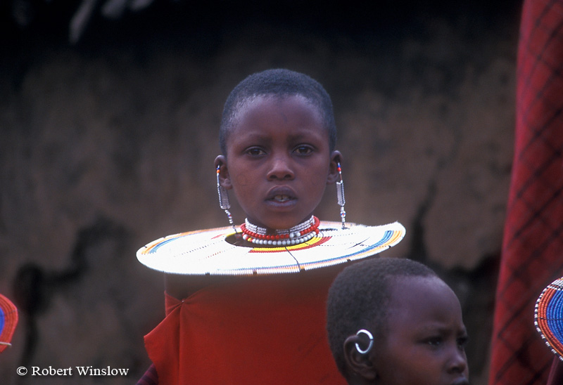 Young Maasai Girl, Village (called a Boma or Manyatta), Ngorongoro Crater Area, Tanzania, Africa