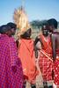 Male Maasai Warrior with Lion Mane Headdress, Masai Mara National Reserve, Kenya, Africa