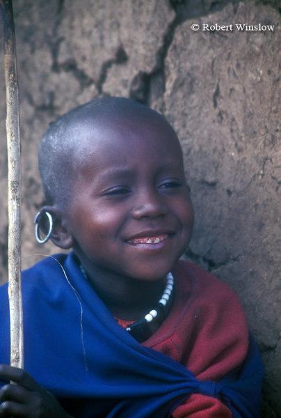 Young Maasai Boy, Village (called a Boma or Manyatta), Ngorongoro Crater Area, Tanzania, Africa