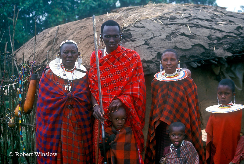 Three Generations of Maasai, Chief with Wife, Their Children and his Mother, Village (called a Boma or Manyatta) Ngorongoro Crater Area, Tanzania, Africa