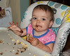2019.07.04<br> Madison gets her first whole chocolate chip cookie shortly after it came out of the oven