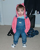 2020.02.15<br> Madison again with her hands in her pockets, her sister's socks on, and overall straps over her sweatshirt because she was likely playing with the straps and taking them on and off