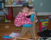 2020.01.12<br> Someone decided that she wanted to sit in her sister's craft desk chair, just not the right way