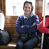 On the cable car going to breakfast.