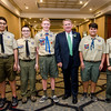 Rollstone Bank President and CEO Martin Connors, Jr. poses for a photo with Moses Rivera, Matthew Sidowski, Connor St. Germain, Devon Sauer and Patricks Edwards, of Fitchburg Boy Scout Troop 41,  before being honored as Distinguished Citizen by the Nashua Valley Boy Scouts in a ceremony at the DoubleTree by Hilton Hotel in Leominster on Wednesday evening. SENTINEL & ENTERPRISE / Ashley Green