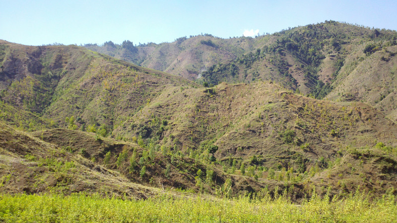 Haiti countryside (stripped of all timber over 100 years ago and very eroded).