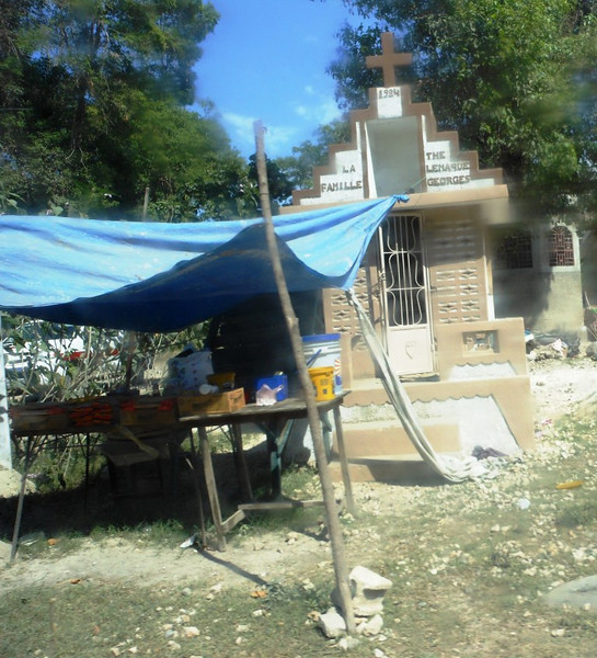 "Tent ""fast food"" business beside the street. <br /> Port au Prince"