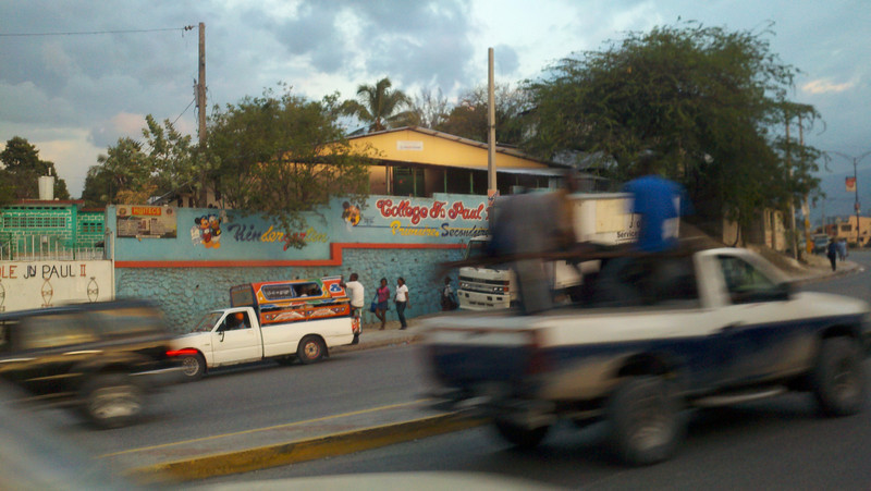 """Tap-tap"" taxi – tap on the roof and the driver lets you off!  <br /> Port au Prince"