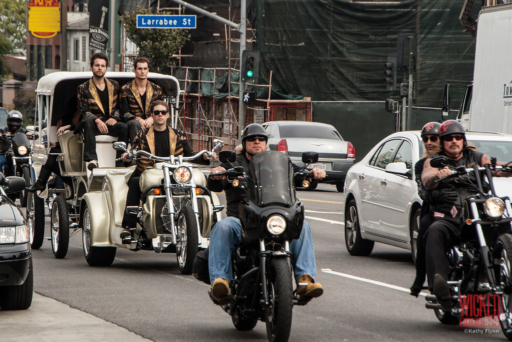 Motorcycle procession on Sunset Blvd
