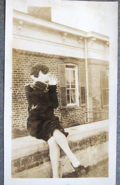Woman Sitting on Wall (05088)