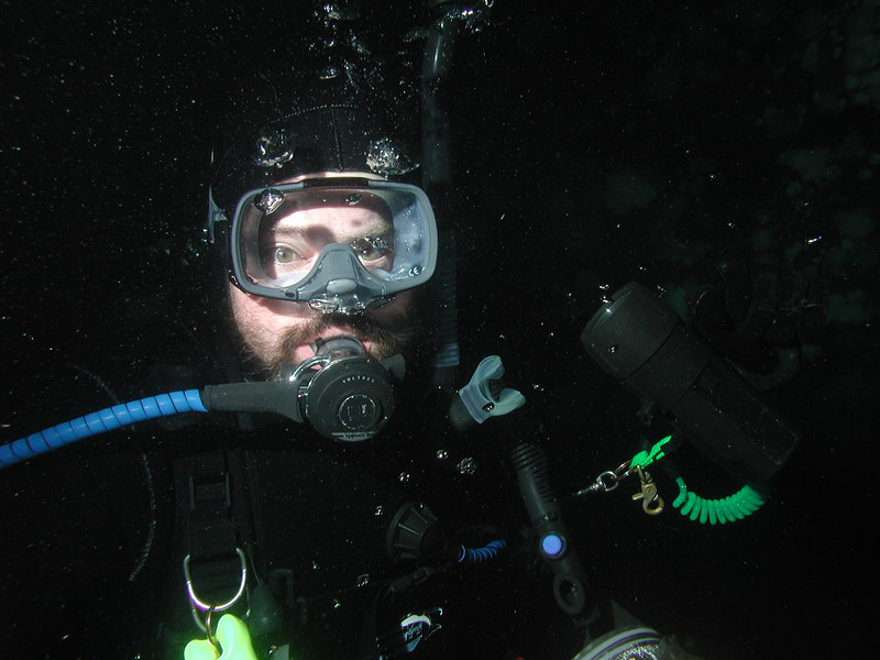 Diving from the Nautilus Explorer at Port Hardy, BC.
