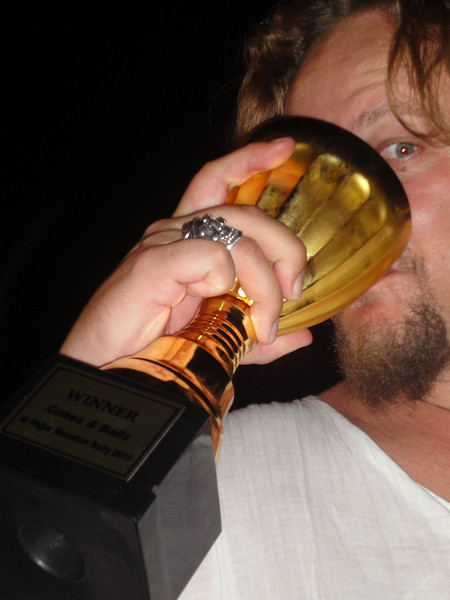 Drinking something unmentionable from our victory cup!
