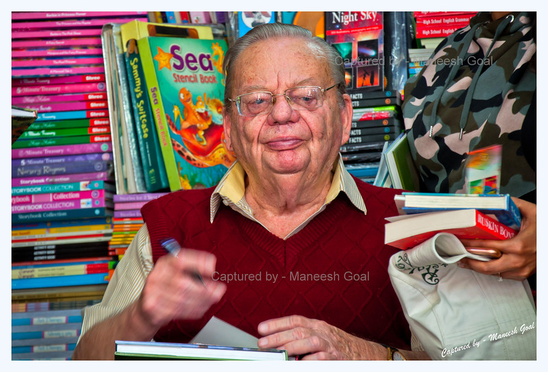 Mr. Ruskin Bond signing books
