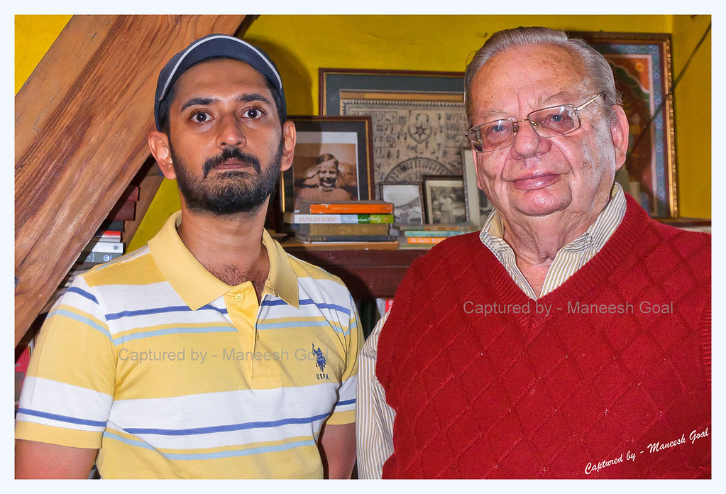 Fan moment with Mr. Ruskin Bond (picture taken by Mr. Sunil Arora)