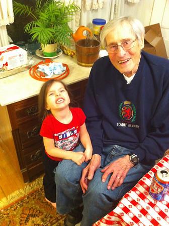 Meghan & Madison with Great Grandma & Grandpa