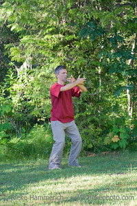 Man practising Tai Chi - Wells Gray Provincial Park, British Columbia, Canada