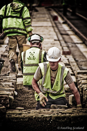Tramline workers