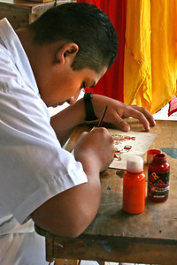Painter at Xcaret, Mexico