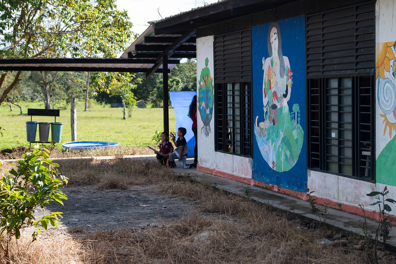The humanitarian refuge in Bajo Cuembi, where the community hold meetings and cultural activities