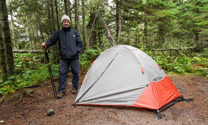 Grizzly image of me (in need of a shave) next to my tent at the Rock Harbor campsite, September 21, 2018