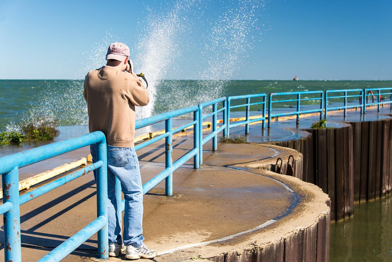 Eric shooting breakers on Port Austin's Breakwall - September 2013