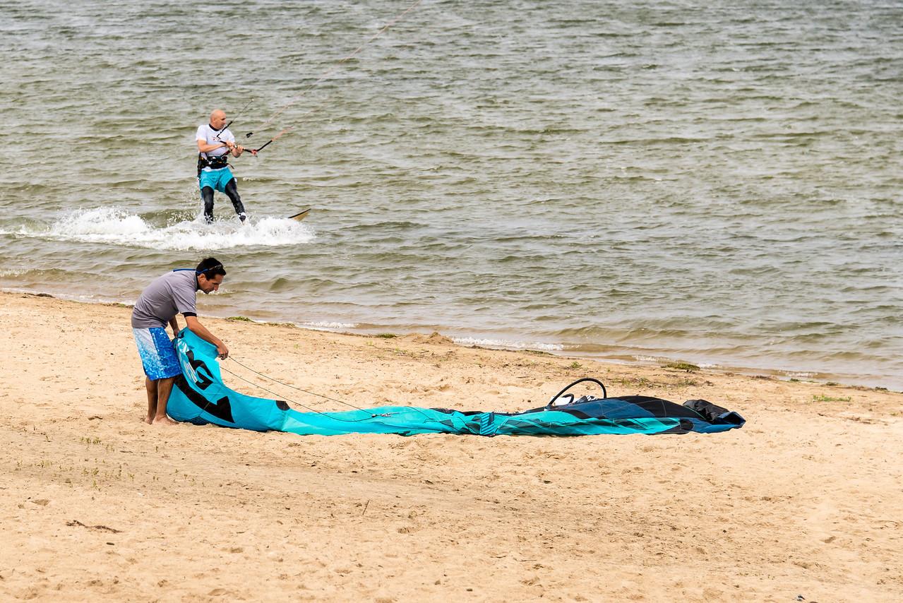Kite Surfer setting up in Port Austin Harbor - September 2013